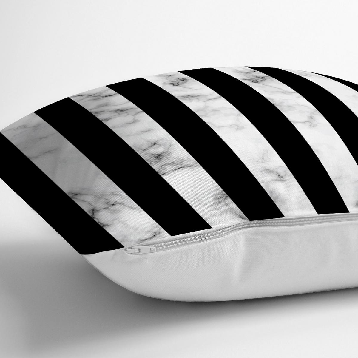 Mermer ve Siyah Çizgili Dijital Baskılı Dekoratif Yastık Kırlent Kılıfı Realhomes