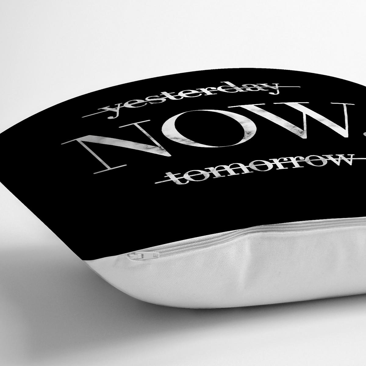 Siyah Zeminde Mermer Motifli NOW Yazılı Modern Yastık Kırlent Kılıfı Realhomes