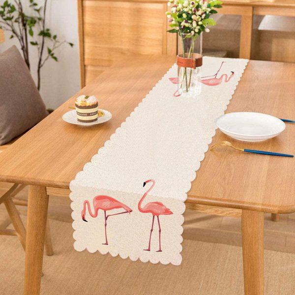 Pembe Flamingo Desenli Dijital Baskılı Runner Realhomes