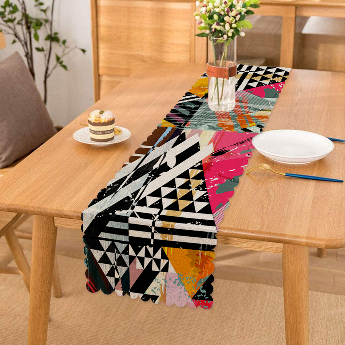 Renkli Boyama Desenli Dijital Baskılı Modern Runner Realhomes