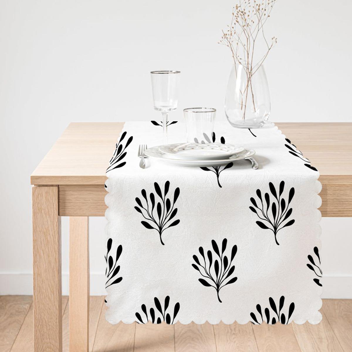 Siyah Beyaz Yaprak Motifli Dekoratif Runner Realhomes