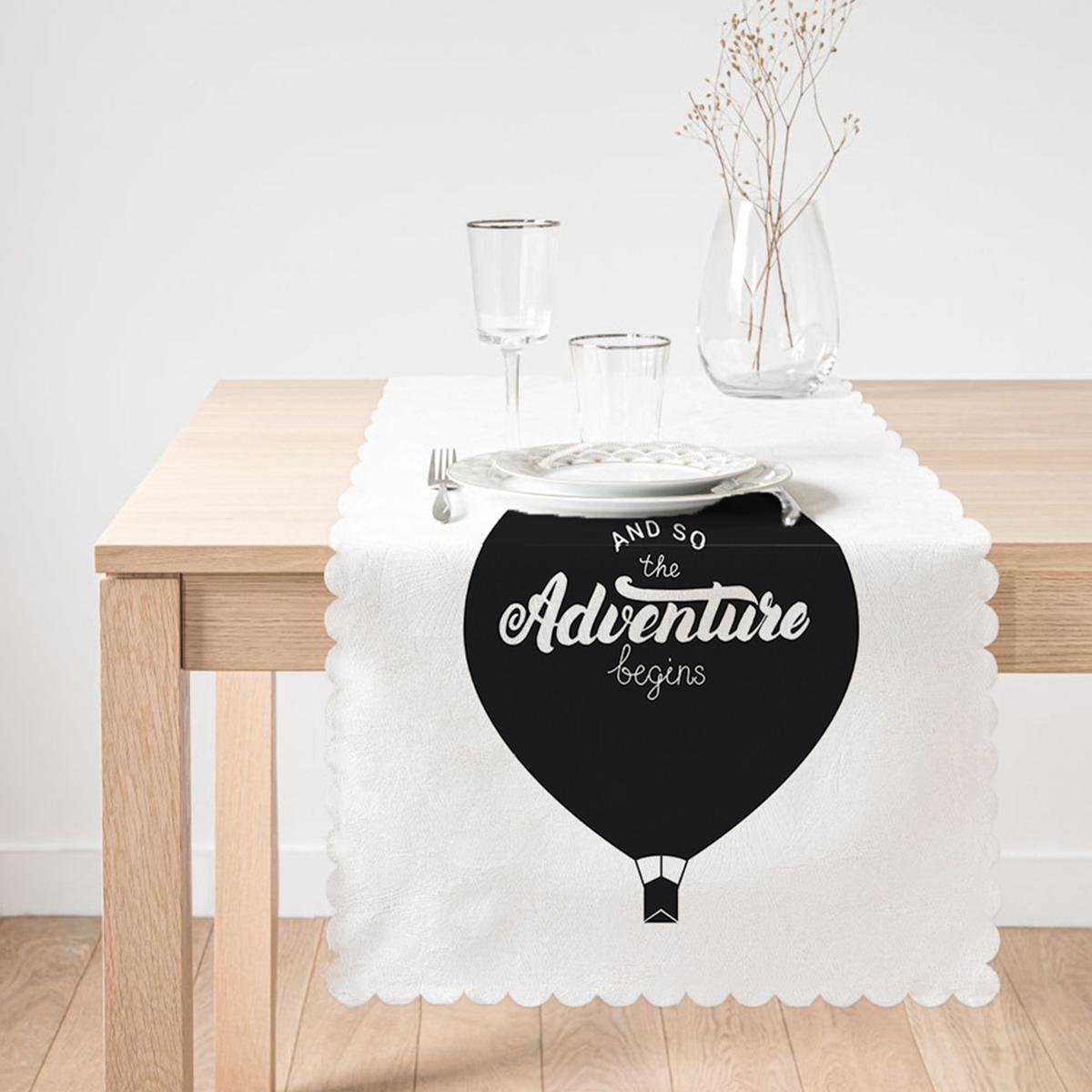 Adventure Balon Resimli Dijital Baskılı Dekoratif Runner Realhomes