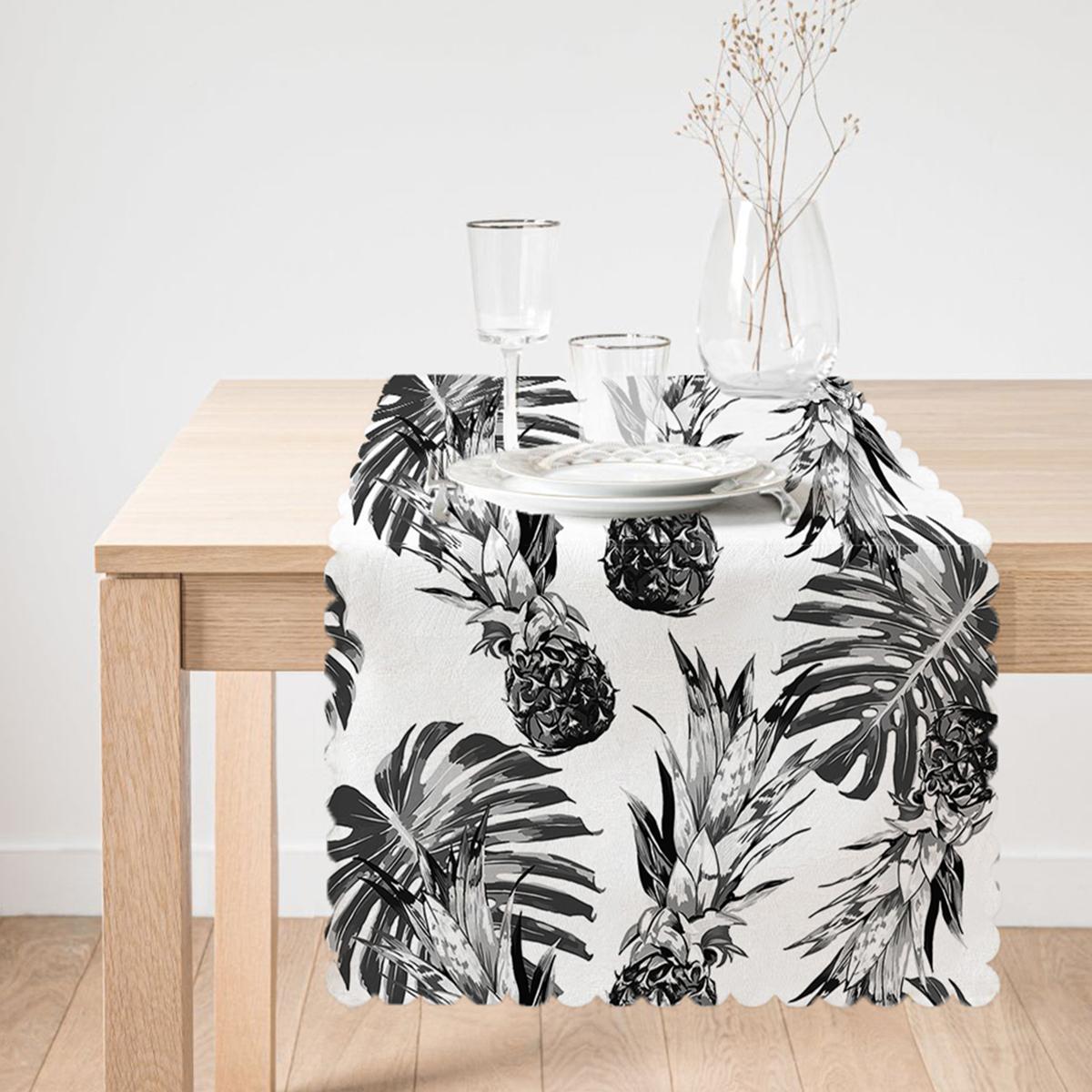 Ananas ve Palmiye Yaprakları Dekoratif Runner Realhomes