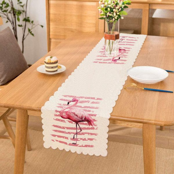 Pudra Çizgi Desenli Flamingo BAskılı Dekoratif Runner Realhomes