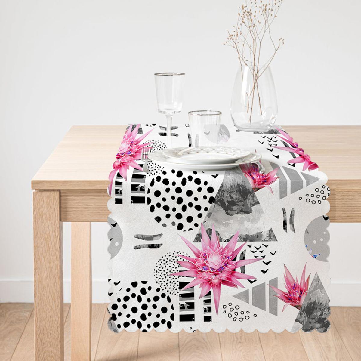 Bal Peteği Temalı Nilüfer Çiçeği Motifli Dekoratif Runner Realhomes