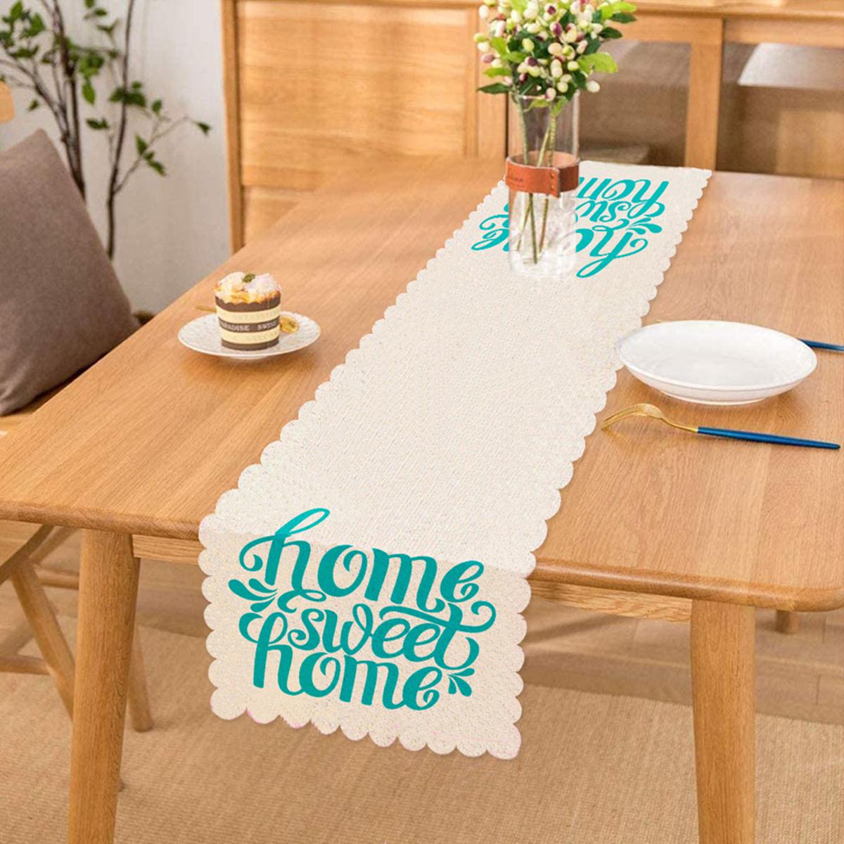 Turkuaz Home Sweet Home Dijital Baskılı Runner Realhomes