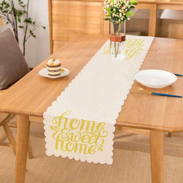 Sarı Home Sweet Home Dekoratif Runner Realhomes