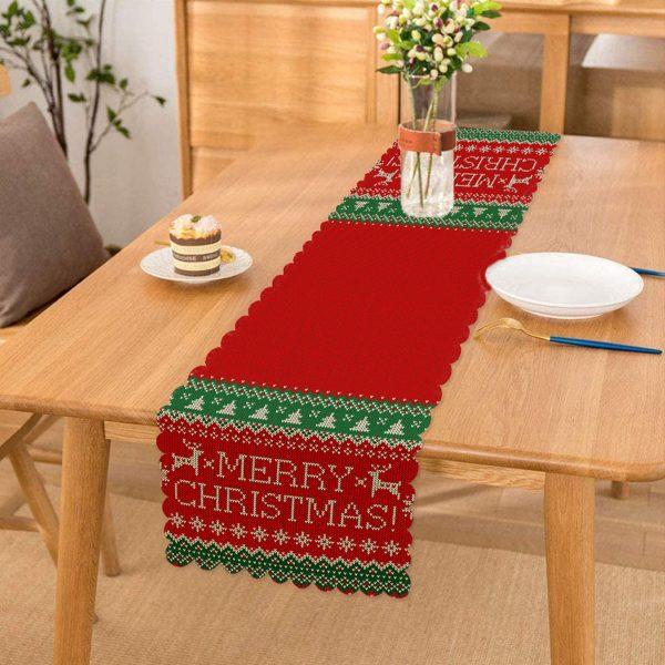 Merry Christmas Motifli Dijital Baskılı Runner Realhomes