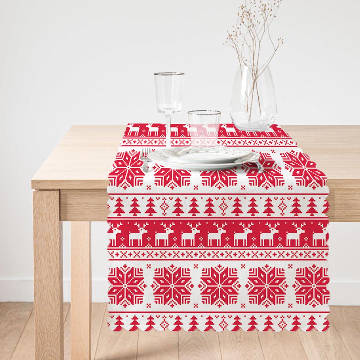 Kırmızı Beyaz Christmas Temalı Dijital Baskılı Modern Runner Realhomes