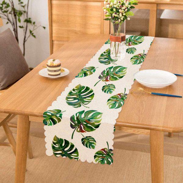 Suluboya Palmiye Yaprakları Desenli Özel Tasarım Runner Realhomes