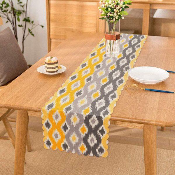Sarı Gri Zigzag Desenli Modern Tasarımlı Dekoratif Runner Realhomes