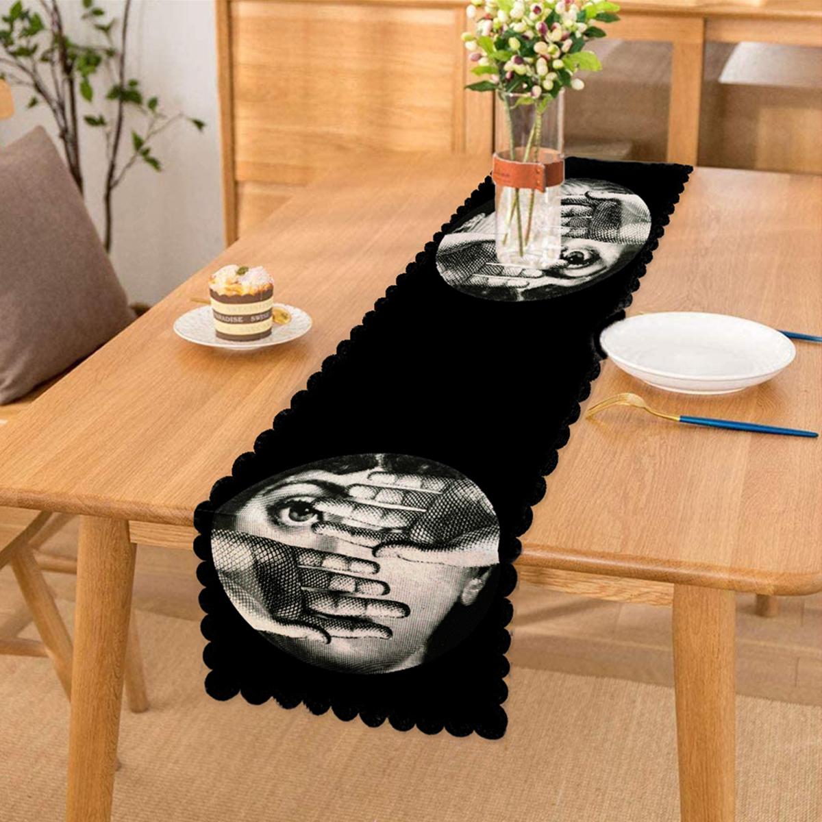 Siyah - Beyaz Fornosetti Tasarımlı Modern Dekoratif Runner Realhomes