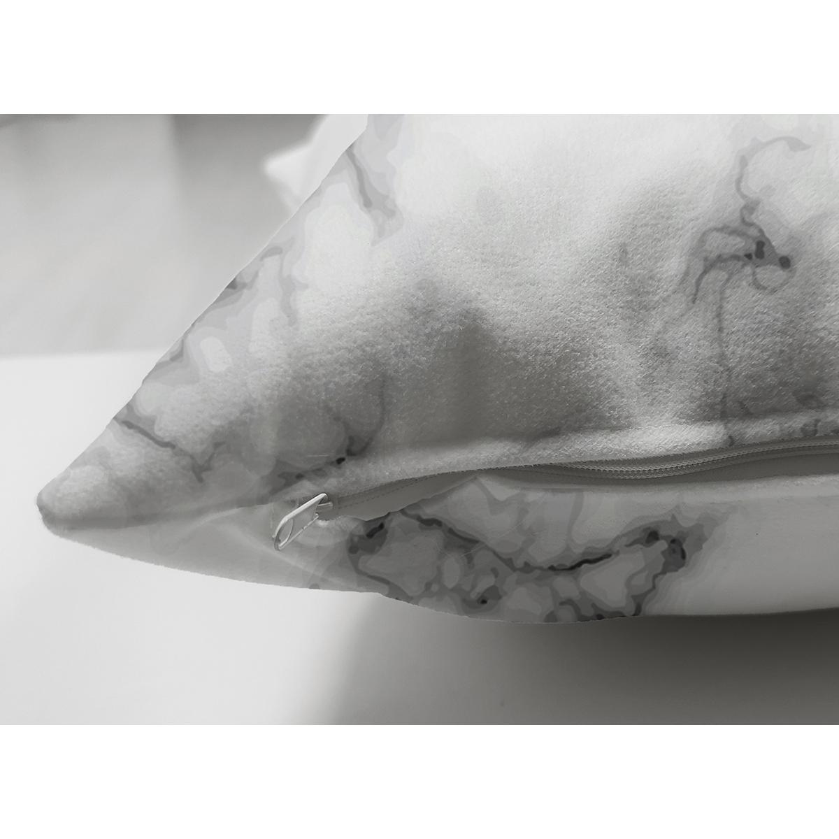 Çift Taraflı Mermer Zemin Üzerinde Love Yazılı Özel Tasarım Modern Süet Yastık Kırlent Kılıfı Realhomes