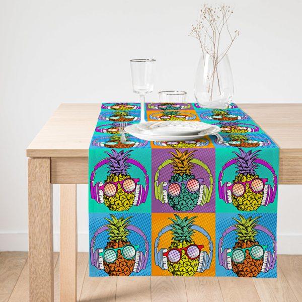 Realhomes Turuncu Zeminde Summer Ananas Tasarımlı Özel Tasarım Süet Runner Realhomes