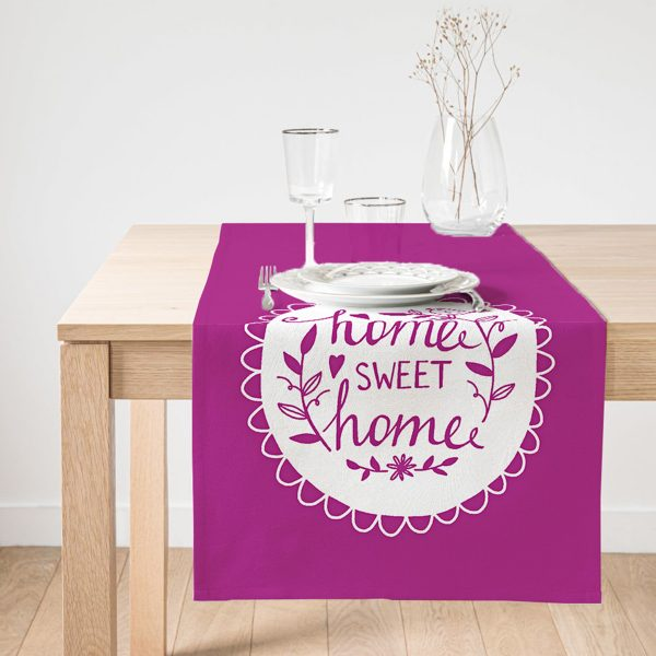 Realhomes Home Sweet Home Dijital Baskılı Dekoratif Süet Runner Realhomes