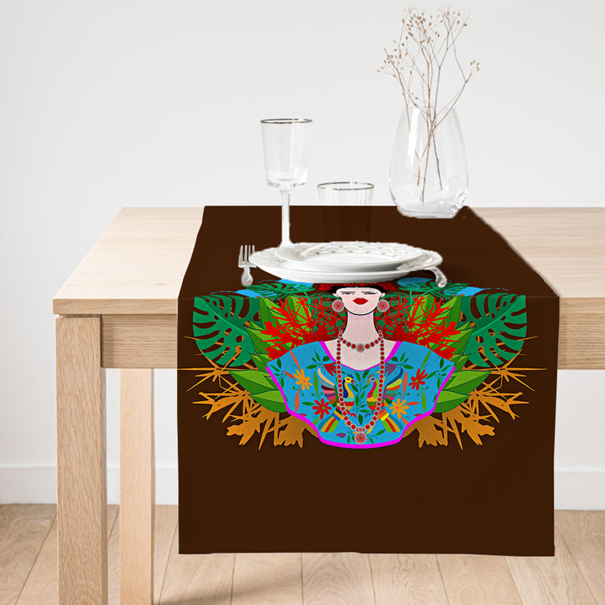 Realhomes Kahverengi Zeminde Özel Tasarım Frida Kahlo Baskılı Süet Runner Realhomes