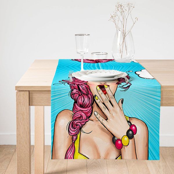 Realhomes Pop Art Desen Dijital Baskılı Dekoratif Süet Runner Realhomes