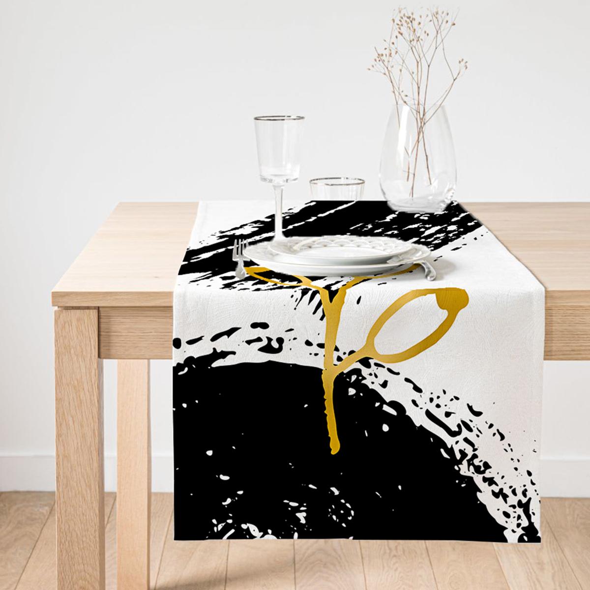 Realhomes Gold Renkli Onedraw Çizimli Çiçek Desenli Dijital Baskılı Özel Tasarım Süet Runner Realhomes