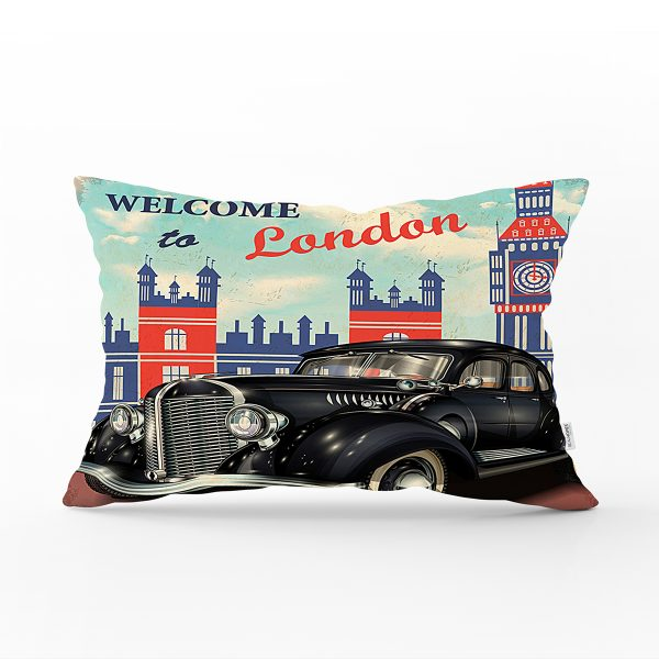 London Car Dijital Baskılı Dekoratif Dikdörtgen Yastık Kırlent Kılıfı Realhomes