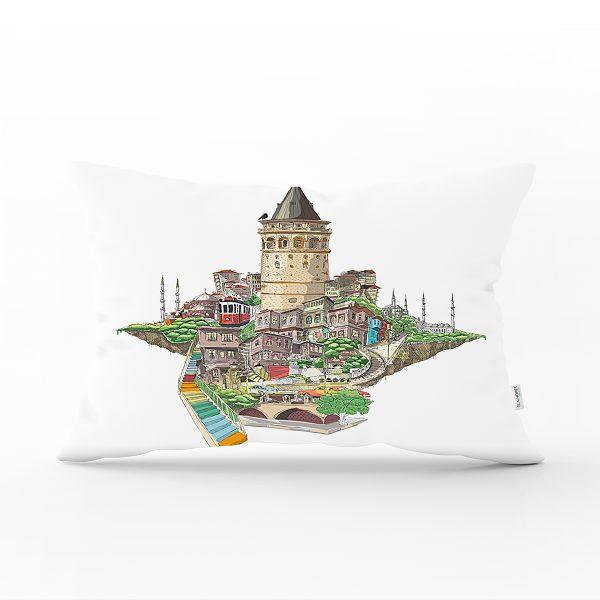 Galata Kulesi Dijital Baskılı Dekoratif Dikdörtgen Yastık Kırlent Kılıfı Realhomes
