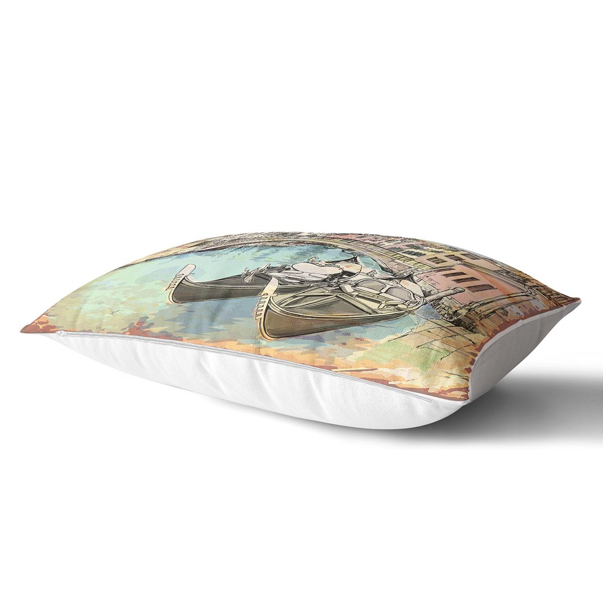 Venedik Temalı Dijital Baskılı Dekoratif Dikdörtgen Yastık Kırlent Kılıfı Realhomes