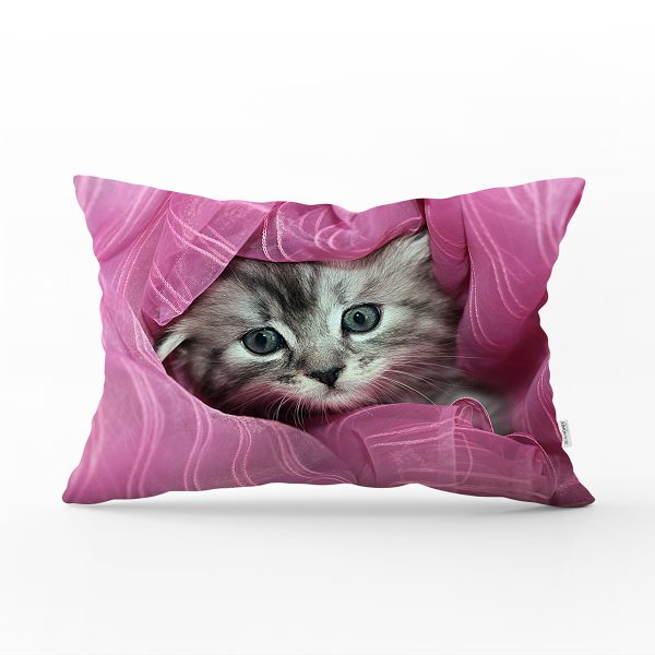 Kedi Resimli Dijital Baskılı Dekoratif Dikdörtgen Yastık Kırlent Kılıfı Realhomes