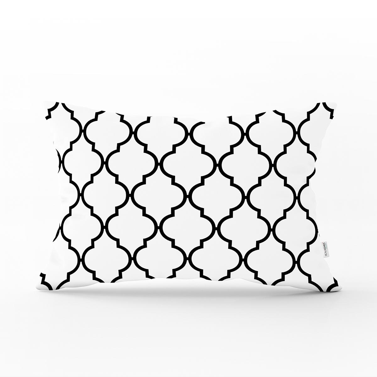 Siyah Beyaz Ogea Desenli Dekoratif Dikdörtgen Yastık Kırlent Kılıfı Realhomes