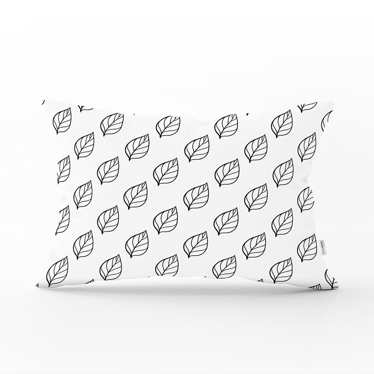 Siyah Beyaz Yaprak Motifli Modern Dikdörtgen Yastık Kırlent Kılıfı Realhomes