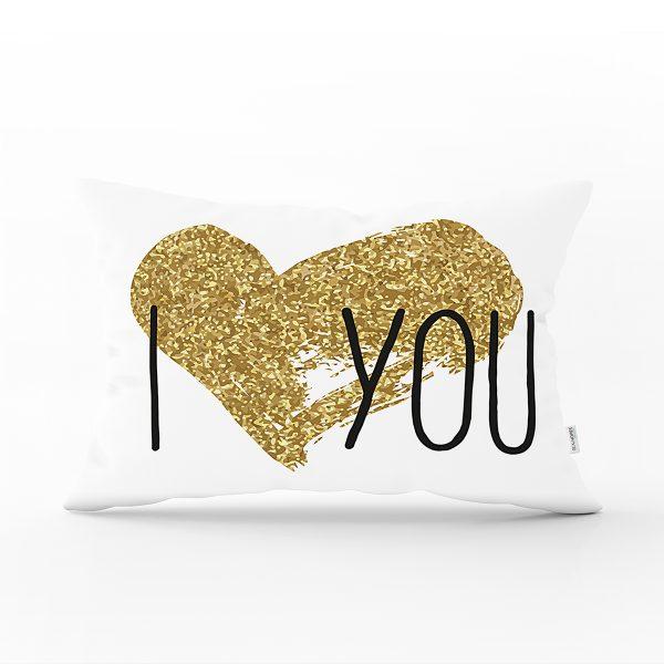 I Love You Aşk Temalı Dijital Baskılı Modern Dikdörtgen Kırlent Kılıfı Realhomes