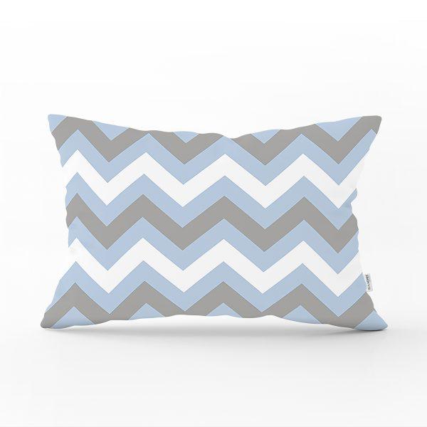 Mavi Gri Zigzag Desenli Dijital Baskılı Dekoratif Dikdörtgen Yastık Kılıfı Realhomes