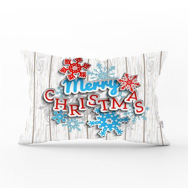 Merry Christmas Dijital Baskılı Dekoratif Dikdörtgen Yastık Kırlent Kılıfı Realhomes