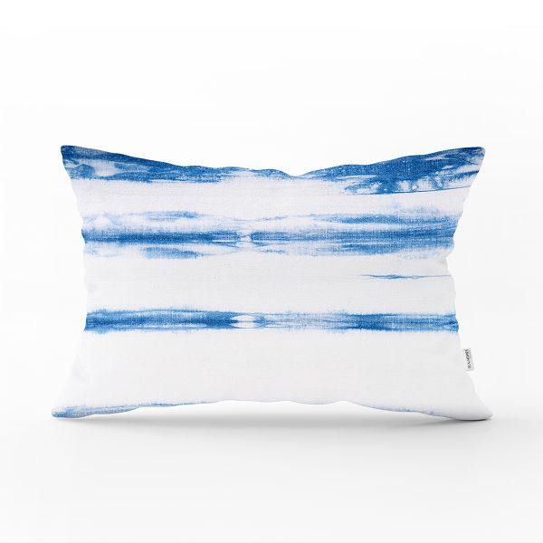 Mavi Beyaz Renkli Dijital Baskılı Modern Dikdörtgen Kırlent Kılıfı Realhomes