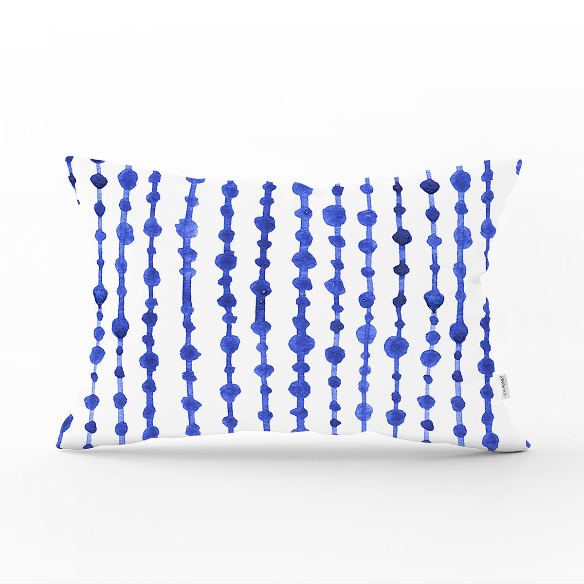 Mavi Çizgili Desenli Dijital Baskılı Modern Dikdörtgen Kırlent Kılıfı Realhomes
