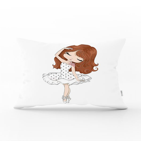 Fashion Girl Desenli Dekoratif Dikdörtgen Yastık Kırlent Kılıfı Realhomes