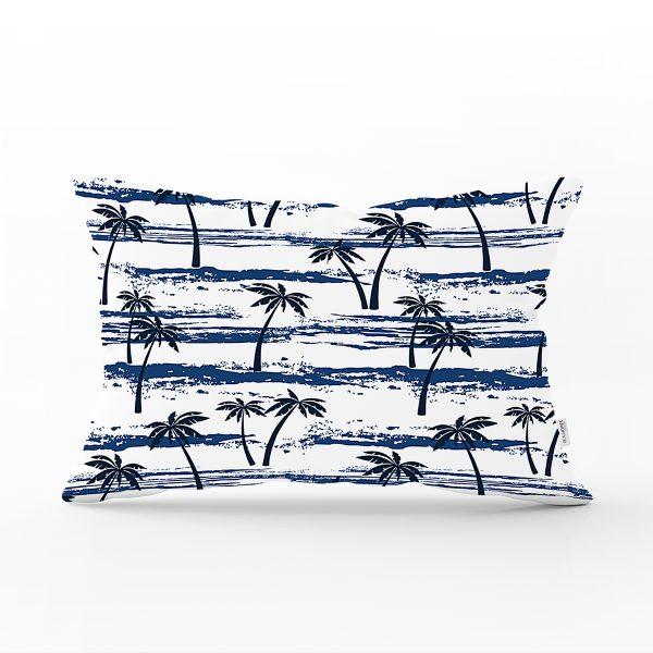 Pudra Mavi Kelebek Çiçek Modern Dijital Baskılı Dikdörtgen Yastık Kılıfı Realhomes