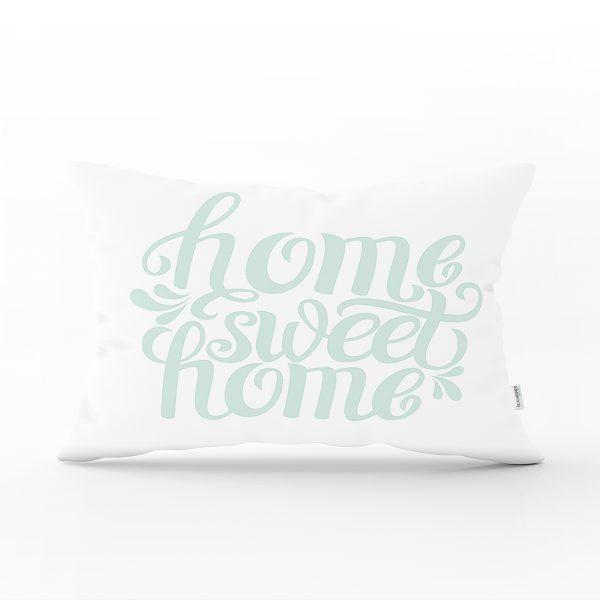 Bulut Mavi Home Sweet Home Dekoratif Dikdörtgen Yastık Kırlent Kılıfı Realhomes