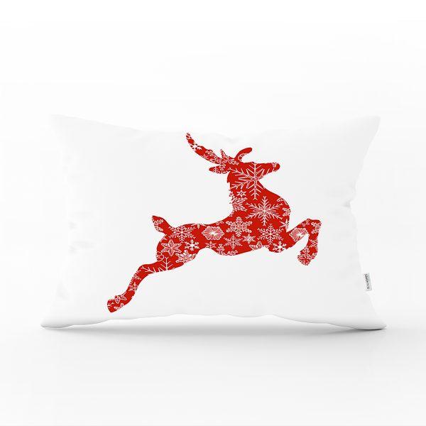 Beyaz Zeminde Kırmızı Geyik Özel Tasarım Dijital Baskılı Dikdörtgen Yastık Kırlent Kılıfı Realhomes