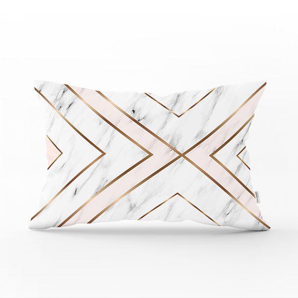 Mermer Zeminli Geometrik Detaylı Modern Dikdörtgen Yastık Kırlent Kılıfı Realhomes