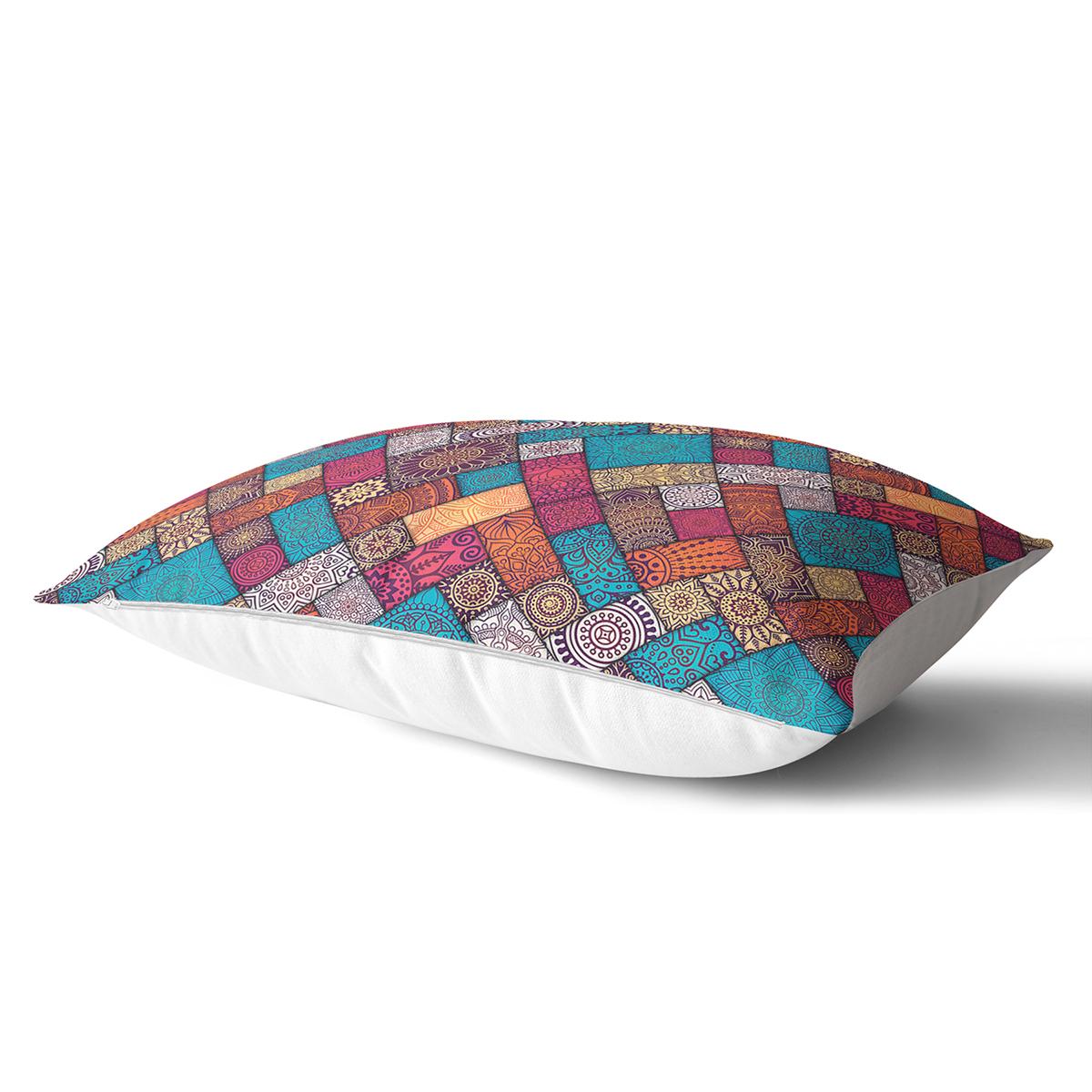 Geometrik Etnik Desenli Özel Tasarım Dikdörtgen Yastık Kırlent Kılıfı Realhomes