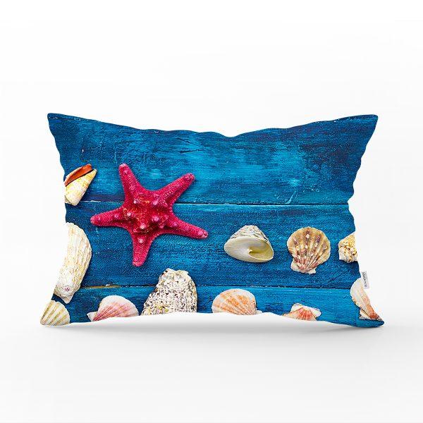 Deniz Yıldızı Midyeler Özel Tasarımlı Modern Dikdörtgen Yastık Kırlent Kılıfı Realhomes