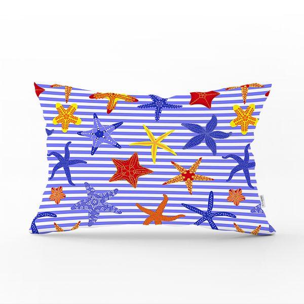 Çizgili Mavi Deniz Yıldızı Özel Tasarım Dijital Baskılı Modern Dikdörtgen Yastık Kırlent Kılıfı Realhomes