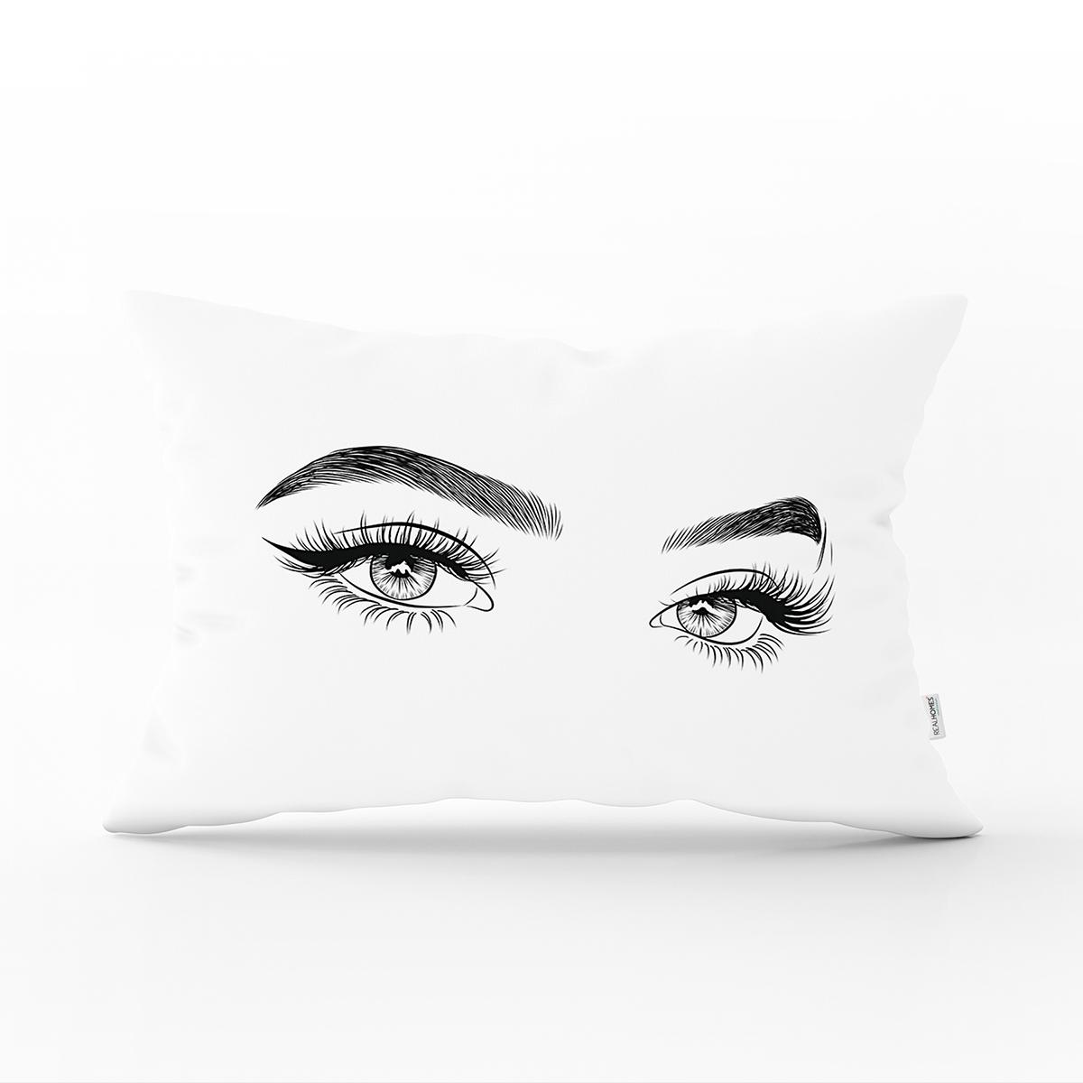 RealHomes Beyaz Zeminde Kirpik Motifli Özel Tasarım Dikdörtgen Yastık Kılıfı Realhomes