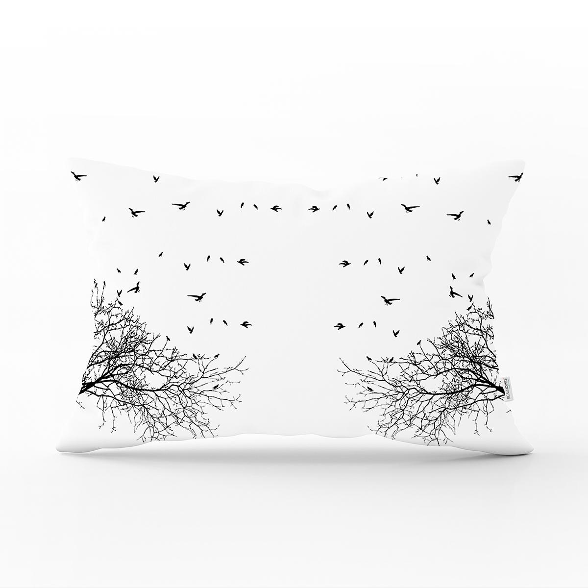 Realhomes Ağaç Dalı Kuş Tasarımlı Dijital Baskılı Dikdörtgen Kırlent Kılıfı Realhomes