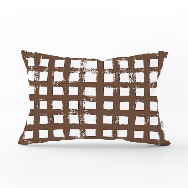 Gri Çizgili Motifli Dekoratif Modern Dikdörtgen Yastık Kılıfı Realhomes