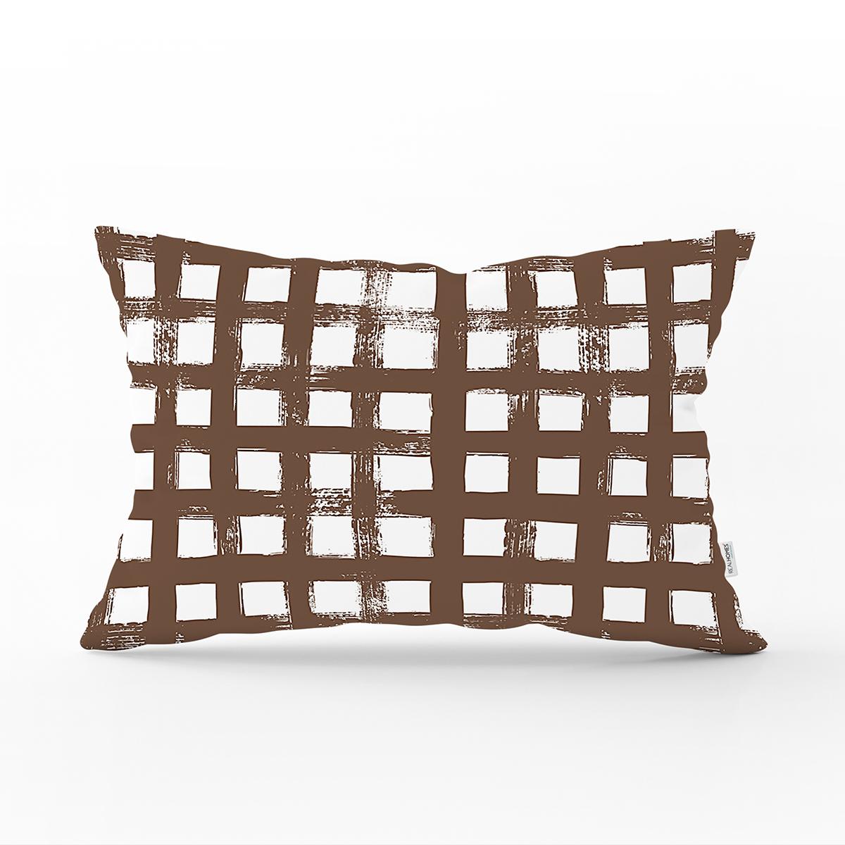 Kahve Zeminde Geometrik Kare Motifli Dekoratif Dikdörtgen Yastık Kılıfı Realhomes