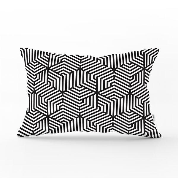 Siyah Beyaz Geometrik Çizim Baskılı Dikdörtgen Kırlent Kılıfı Realhomes