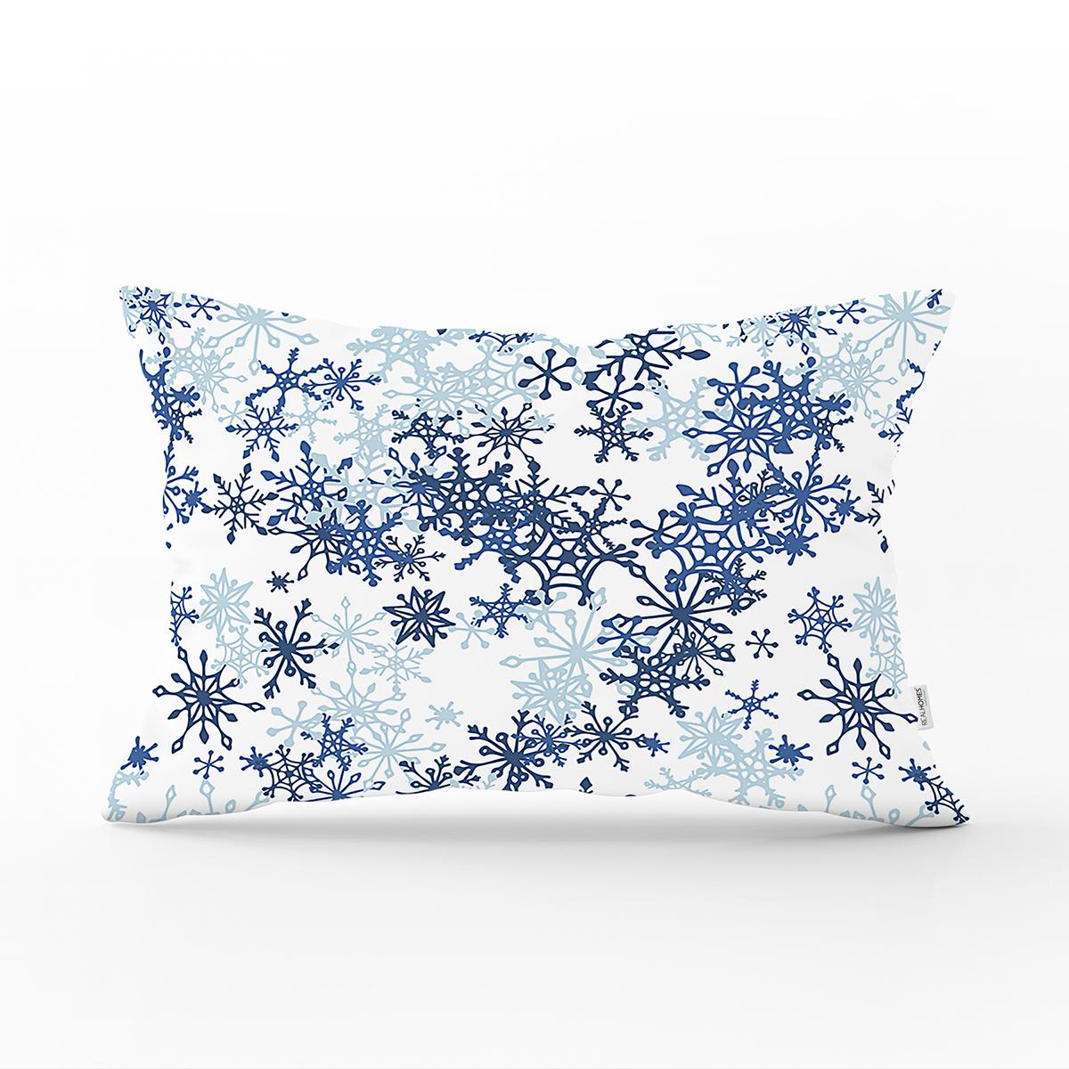 Beyaz Zeminde Mavi Kristal Ve Yıldız Motifli Özel Tasarım Modern Dikdörtgen Yastık Kılıfı Realhomes