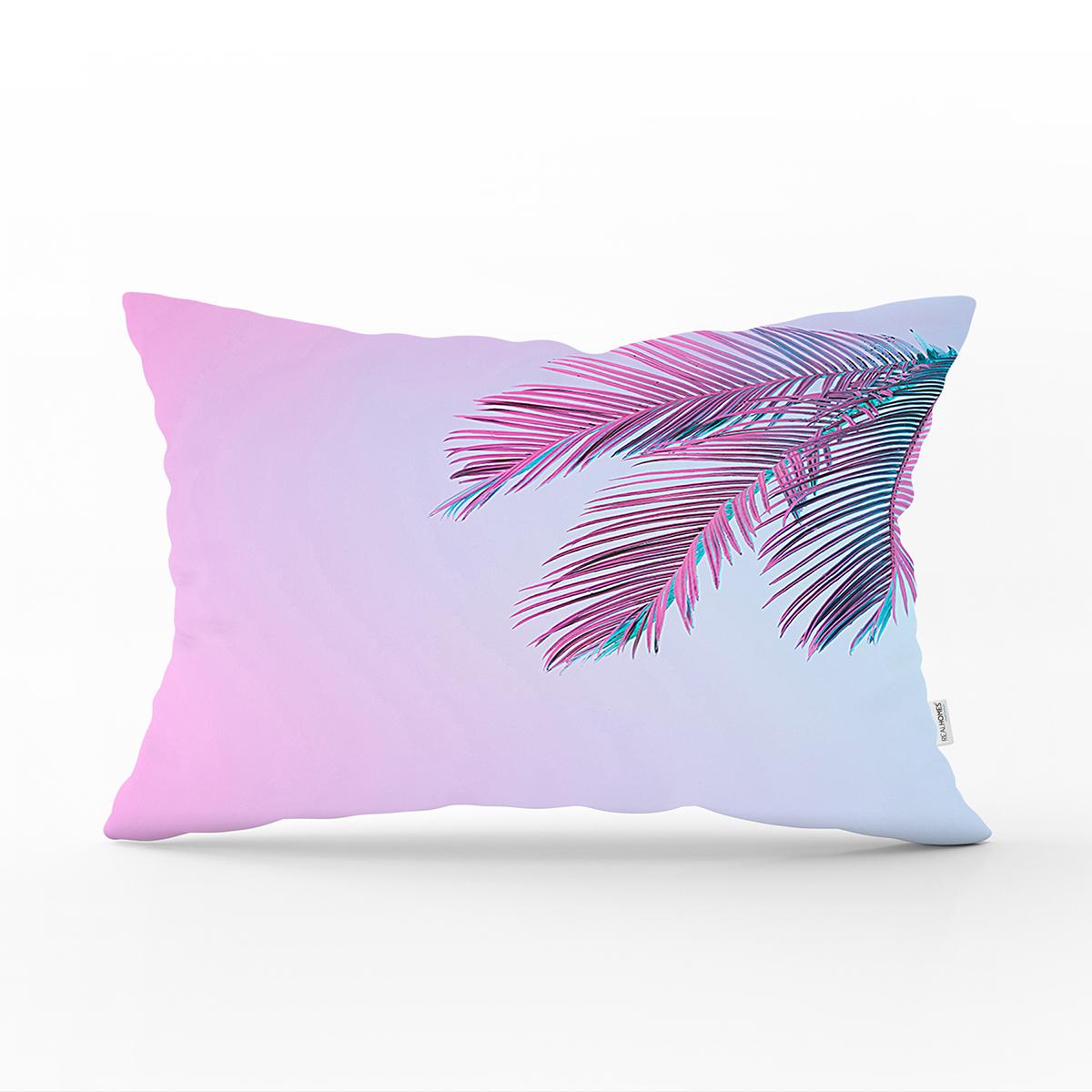 Toz Mavisi Zeminli Tropik Yapraklı Özel Tasarım Moderen Dikdörtgen Yastık Kılıfı Realhomes