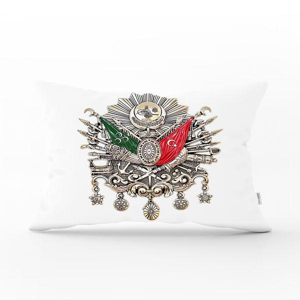 Beyaz Zeminde Osmanlı Devlet Arması Modern Dikdörtgen Kırlent Kılıfı Realhomes