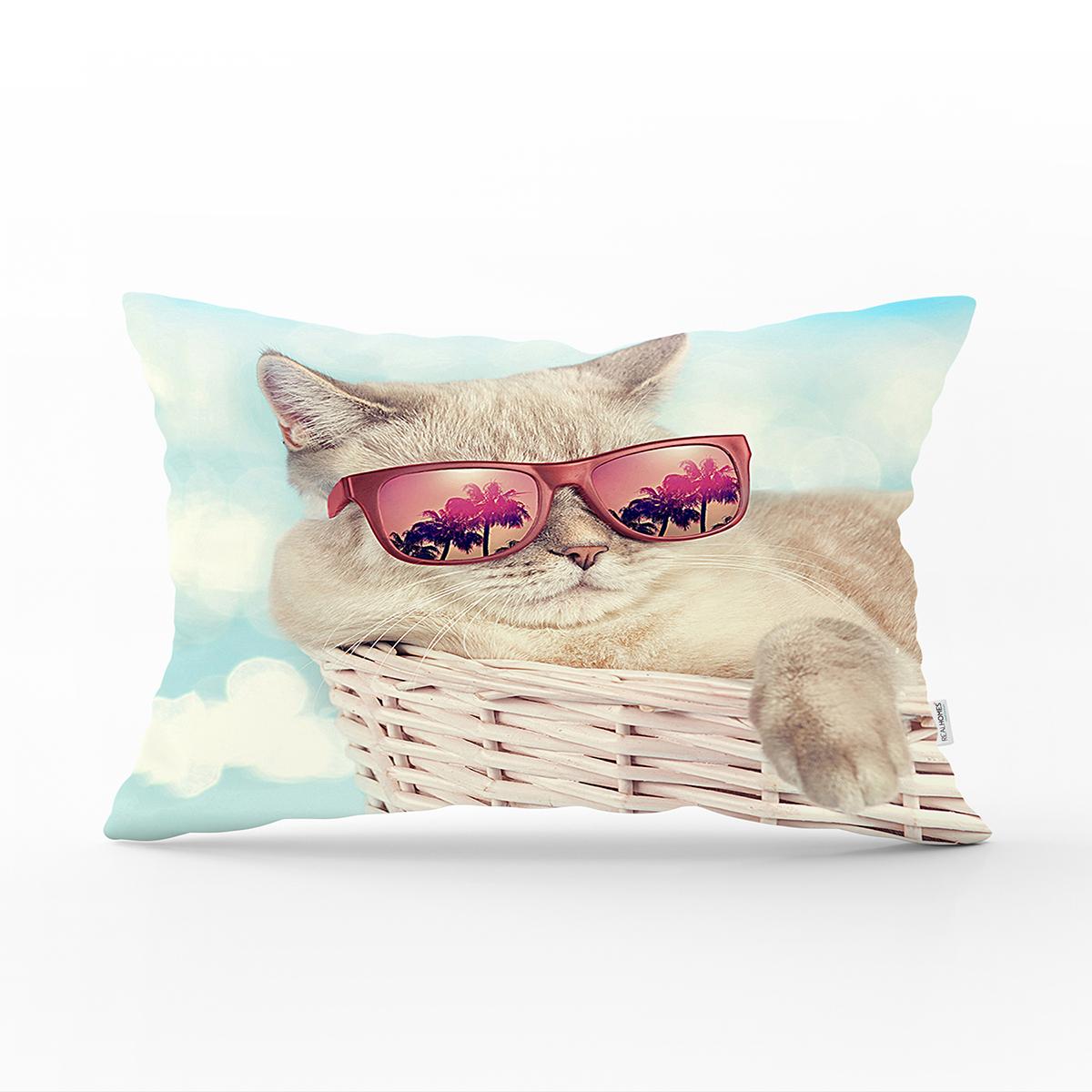 Sepetteki Gözlüklü Kedi Baskılı Modern Dikdörtgen Yastık Kırlent Kılıfı Realhomes